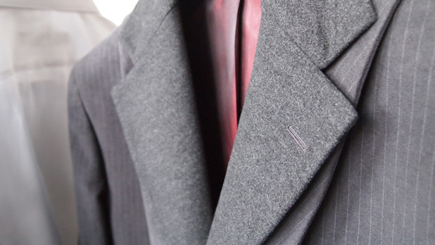 Gray suit with custom red line and lapel for winter