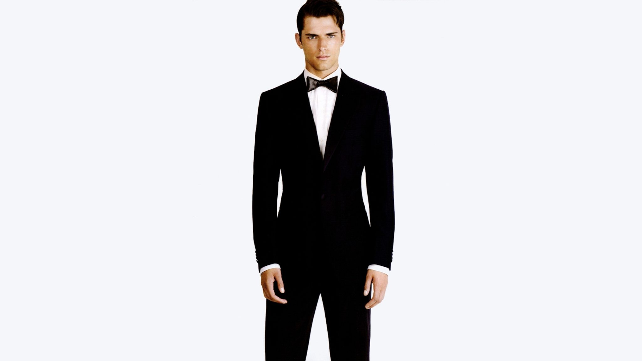 Classic Tuxedo with Black Bow Tie and White Shirt